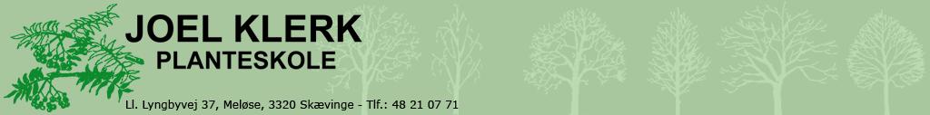 Joel Klerk Planteskole | tlf. 48210771 | Løvfældende træer engros